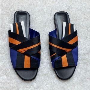Via Spiga Halina Striped Satin Slide Sandals